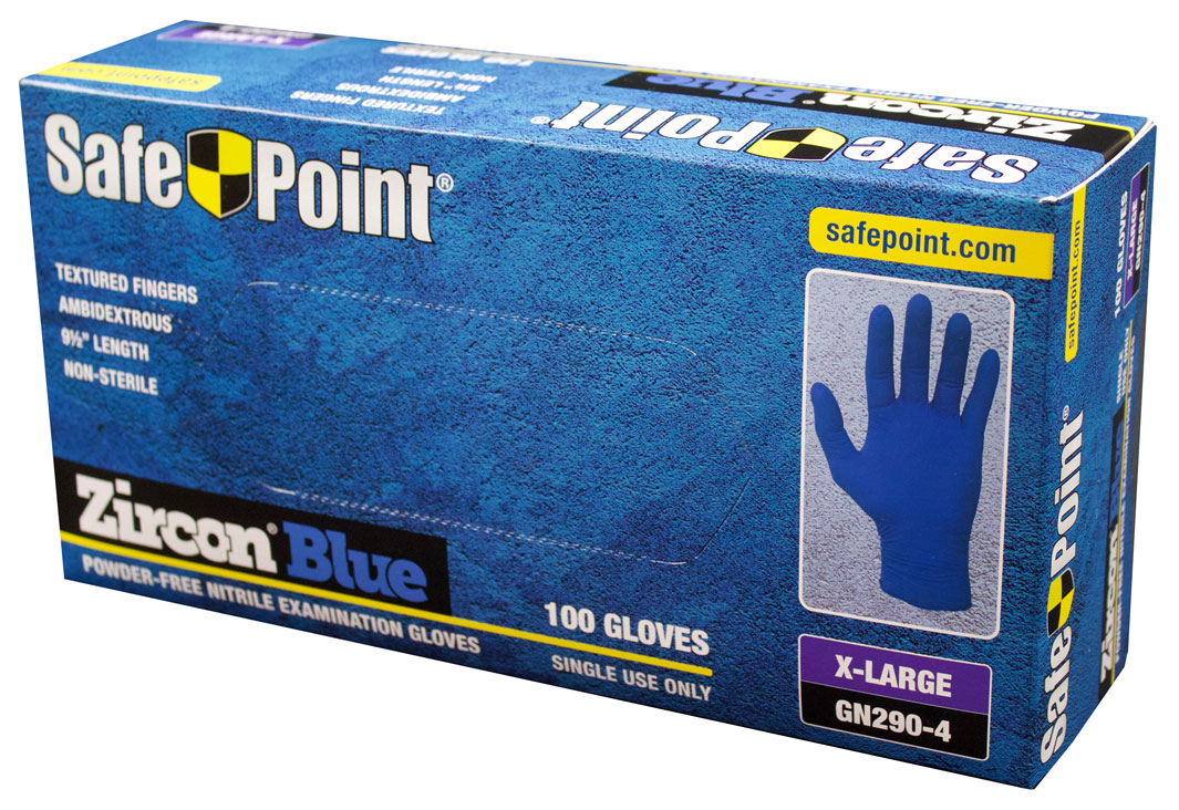 SafePoint™ Zircon™ Blue Disposable Nitrile Exam Grade Gloves – 1,000/Case